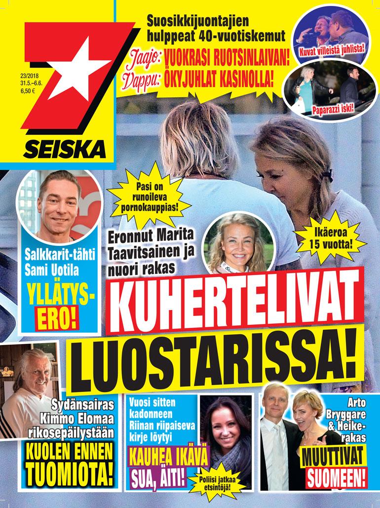 Marita Taavitsainen Seiskan kansijutussa.
