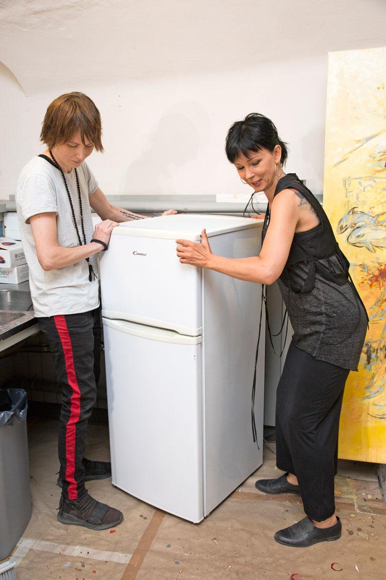 Kata löysi kierrätyskeskuksesta halvalla jääkaappipakastimen.