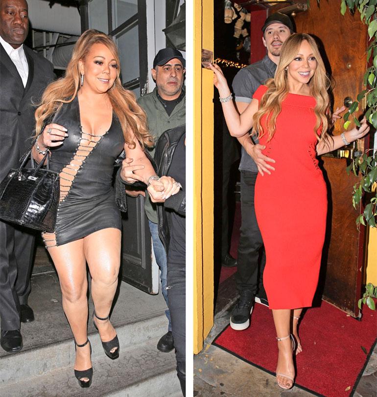 Mariah mustassa mekossa vuonna 2017 ja punaisessa asussa vuonna 2018.
