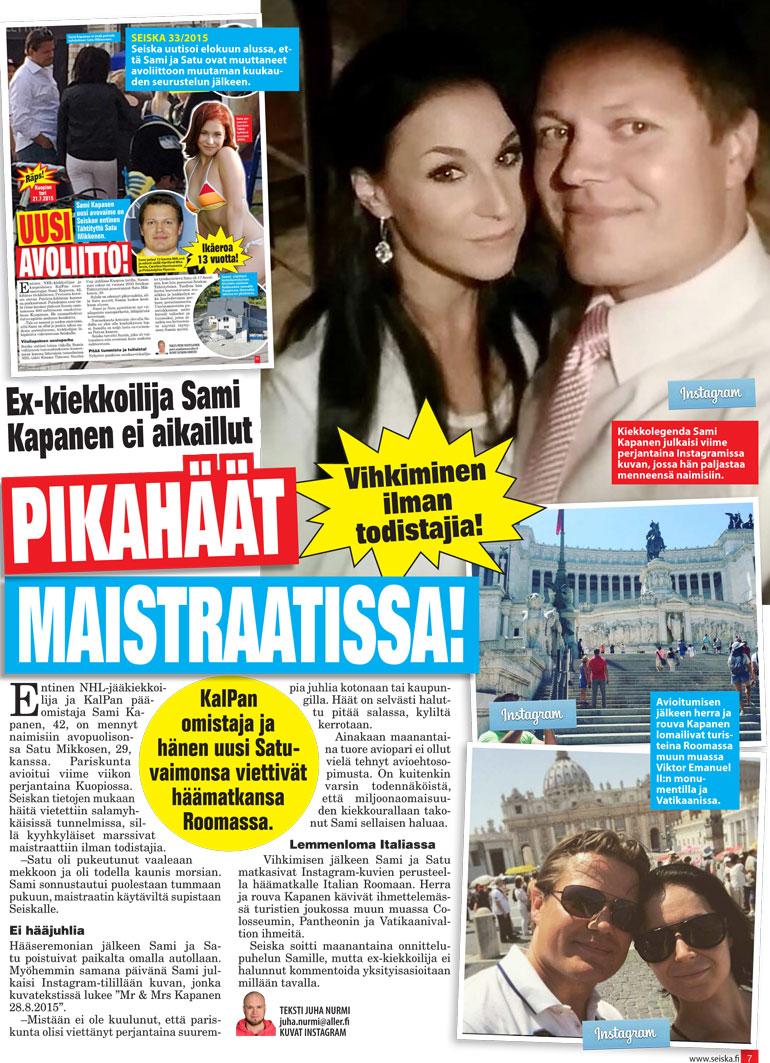 SEISKA 36/2015 Sami avioitui Satu-rakkaansa kanssa kesällä 2015. Satu tekee taloushallinnon töitä KalPassa.
