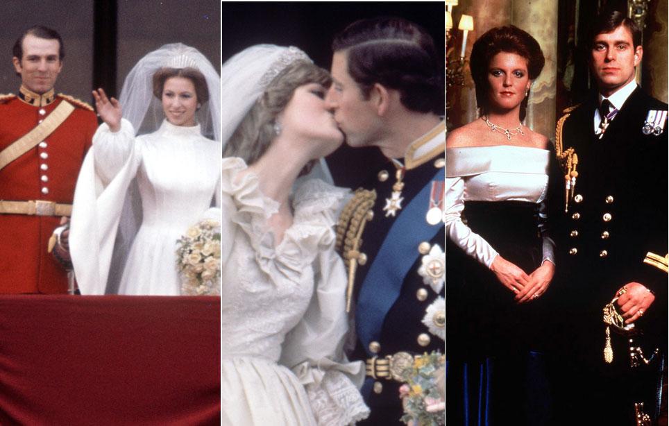 Prinsessa Anne ja Mark Phillips, prinssi Charles ja prinsessa Diana, prinssi Andrew ja herttuatar Sarah