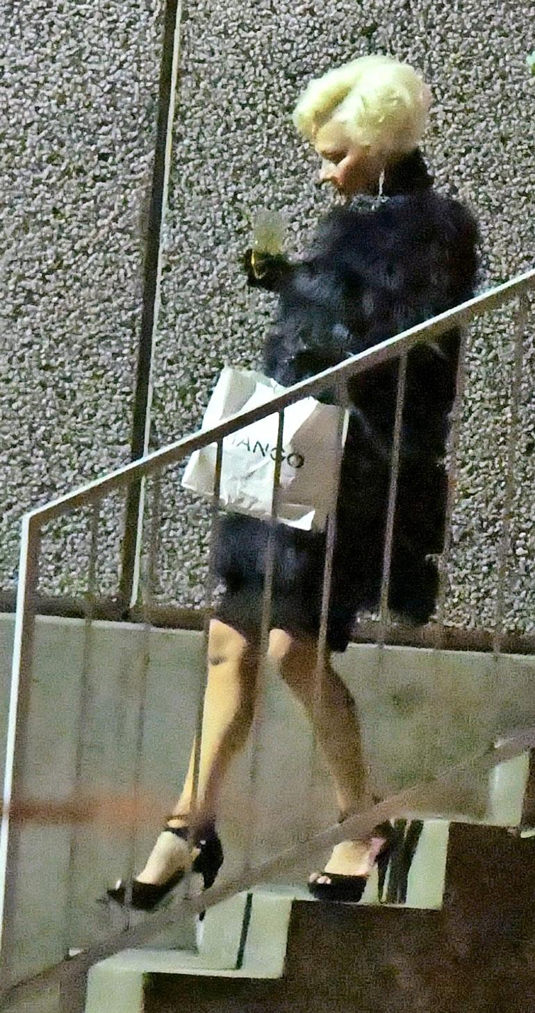 Helena lähti studiolta skumppalasi kädessä pienessä takakenossa.