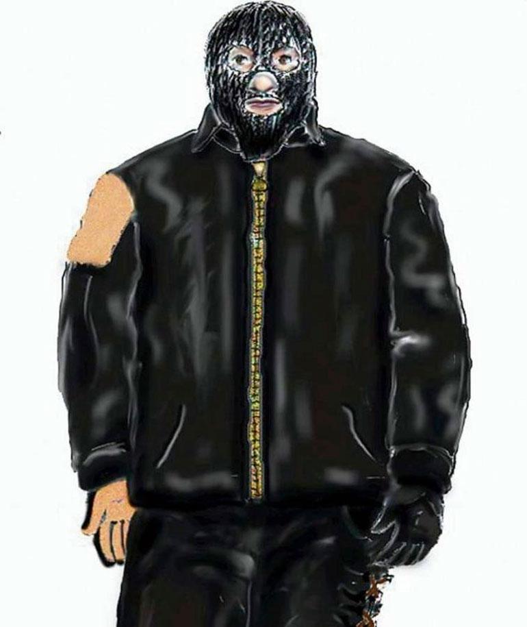 """Martin Ney tunnetaan myös """"naamiomiehenä"""", sillä hän käytti maskia tekoja tehdessään. Piirros on Ala-Saksin poliisin käyttämä havainnekuva epäillystä."""
