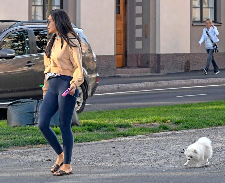 Sofia lenkitti Bambia pinkissä flex-taluttimessa.