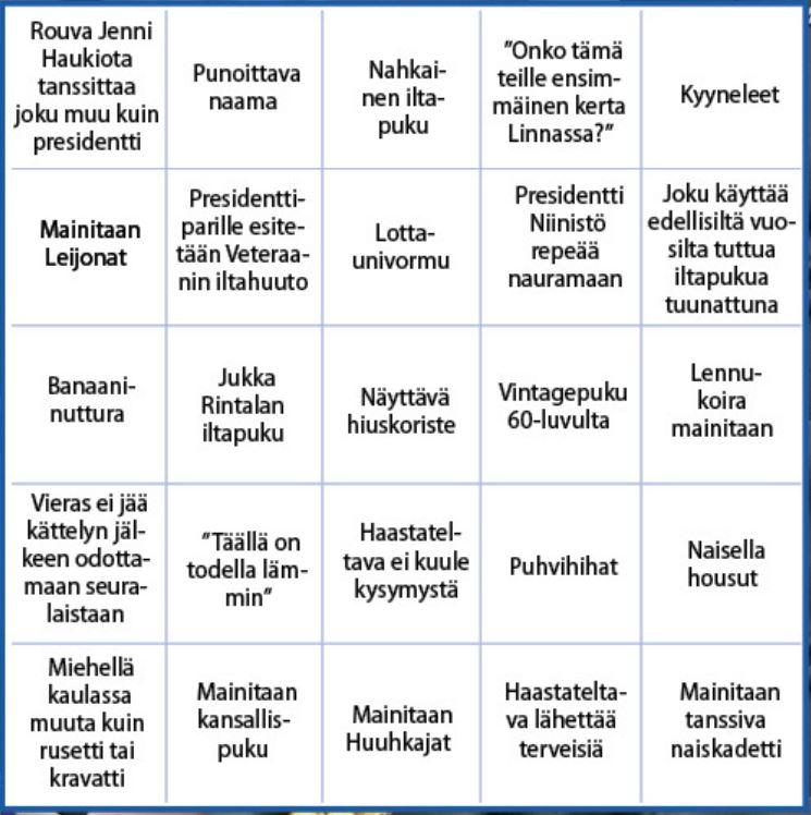 Linnan juhlat -bingo