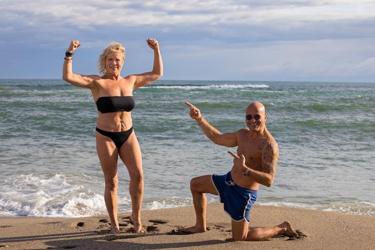 Mikä mieletön muutos! Johanna Karjunen kiinteytyi ja kutistui avomiehensä, personal trainer Giuseppe Mennillon opein. Peppe on missirakkaastaan syystäkin ylpeä.