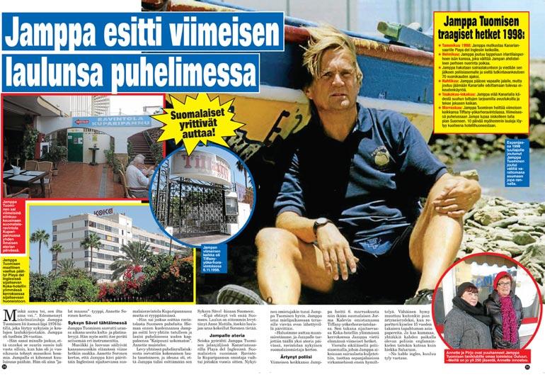 SEISKA 47/2013 Seiska kertoi iskelmälegenda Jamppa Tuomisen viimeisistä vaiheista kuusi vuotta sitten.  Laulaja löydettiin hotellihuoneestaan kuolleena marraskuussa 1998.