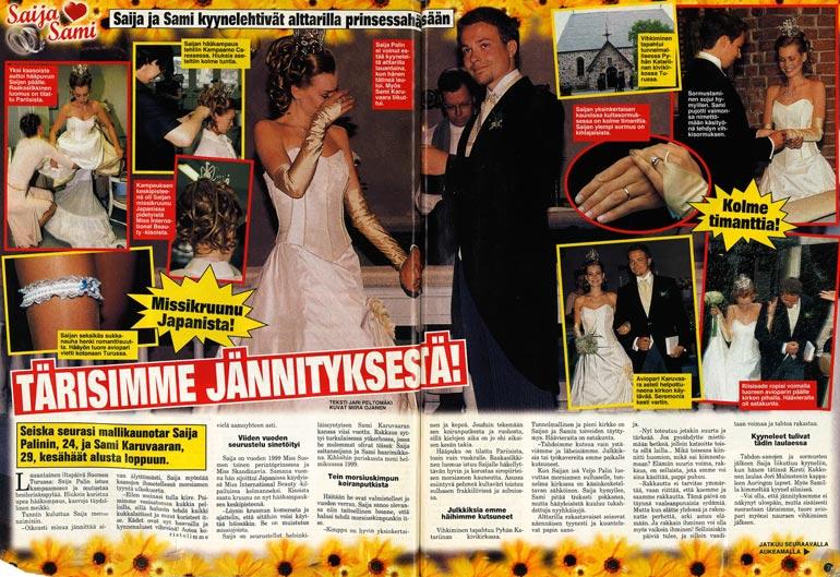 SEISKA 25/2002 Saija ja Sami Karuvaara menivät naimisiin kesällä 2002. Heillä on yksi poika, Julius, 12.