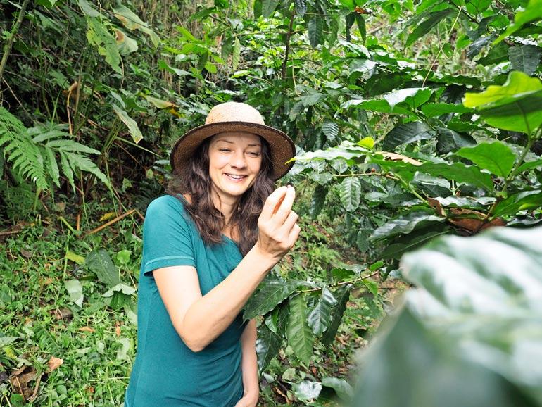 Kirsi ei haluaisi vaihtaa Kolumbiaa Eurooppaan. Tropiikissa saa vaikka kahvit omista pensaista.
