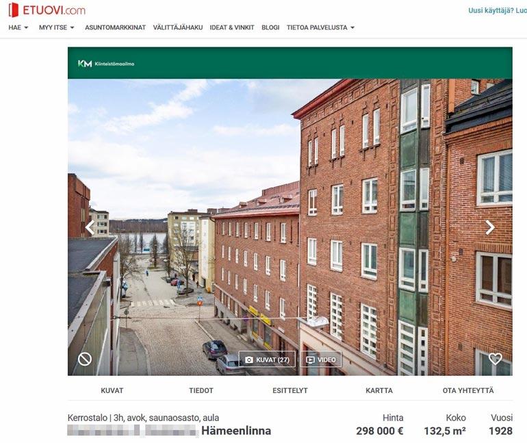Sanin kaupittelema kaksikerroksinen kerrostalokämppä sijaitsee aivan Hämeenlinnan keskustassa.