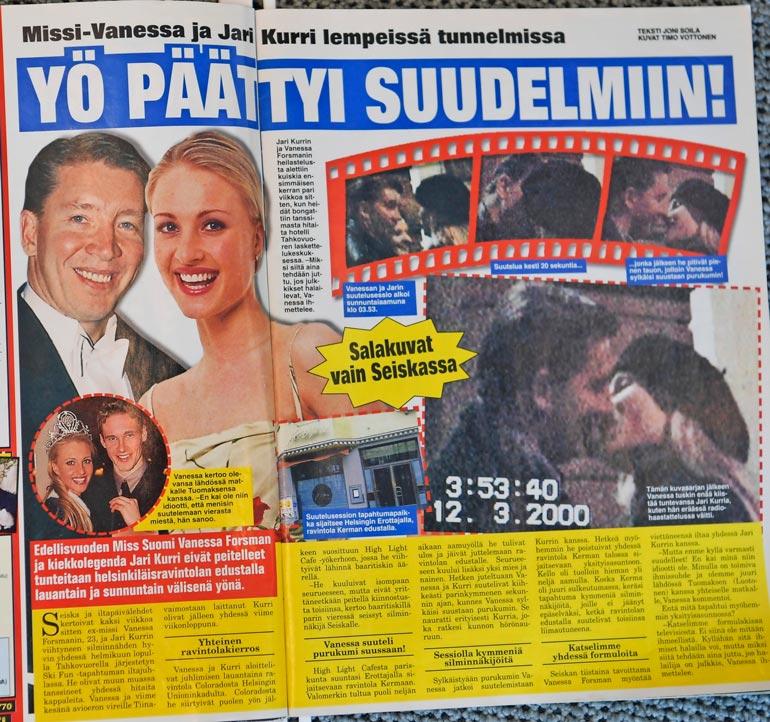 SEISKA 11/2000 Näistä suutelukuvista syntyi kohu kevättalvella 2000, jolloin Jarin ja Vanessan suhteesta sai tietää koko valtakunta.