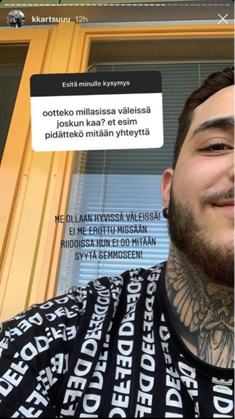 Kuvakaappaus Karimin Instagram-videotarinasta.