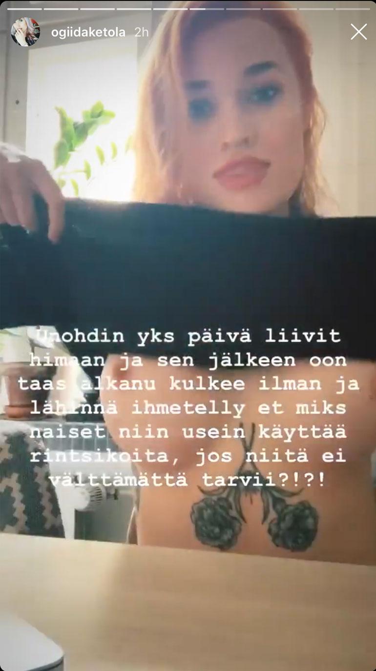 Kuvakaappaus Iida Ketola-Korppilan Instagram-videotarinasta.