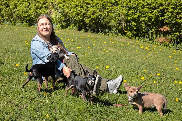 Jonnalla on viisi koiraa, jotka pitävät hänet liikkeellä. – Koirien ansiosta liikun päivittäin, mikä pitää mielen virkeänä.