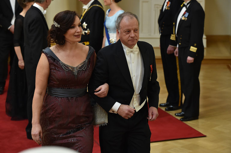 Matti Rönkä ja Johanna Vuoksenmaa Linnan juhlissa 2014.