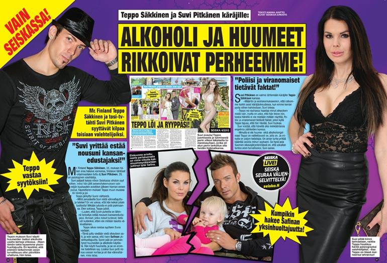 SEISKA 6/2015 Suvi Pitkäsen ja Teppo Säkkisen erosta uutisoitiin Seiskassa helmikuussa 2015.