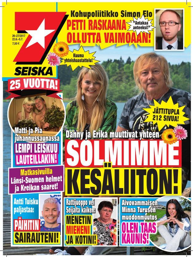 Erika ja Danny olivat Seiskan juhannuslehden kannessa kesällä 2017.