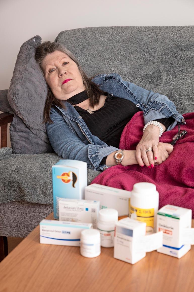 Lääkkeitä kuluu joka päivä melkoiset määrät. Palleatyrään liittyy refluksitauti. – Se on todella ikävä, mutta kyllä sairauksien kanssa voi elää.