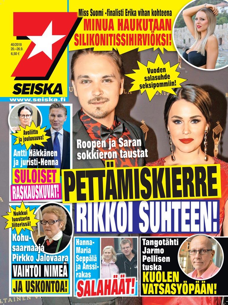 SEISKA 40/2018 Saran ja Roope Salmisen avoliitto päättyi Roopen syrjähyppyihin.