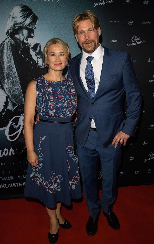 Matti Ristinen and his wife Sari Haapamäki poses for the camera during Olen Suomalainen - Movie premiere in Helsinki, Finland, 11. September 2019. (