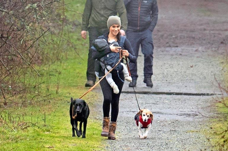 Meghan ulkoilutti poikaa ja koiria Kanadassa.