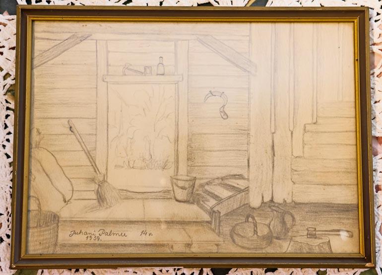 Juhanin 15-vuotiaana piirtämä kuva ukkinsa aitasta on ainoa sieltä asti säilynyt Juhanin piirros. Se ei ole huutokaupassa myytävänä.