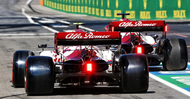 Antonio Giovinazzi (ITA) Alfa Romeo Racing C39 and Kimi Raikkonen (FIN) Alfa Romeo Racing C39. 12.09.2020. Formula 1 World Championship, Rd 9, Tuscan Grand Prix, Mugello, Italy, Qualifying Day