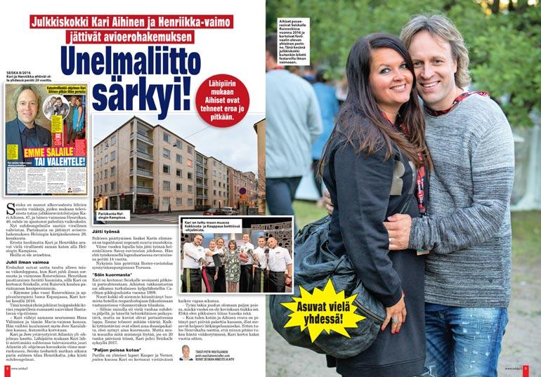 SEISKA 31/2019 Henriikka ja Kari Aihisen vuosi sitten päättynyt suhde oli alkanut vuonna 1999 työpaikkaromanssina.