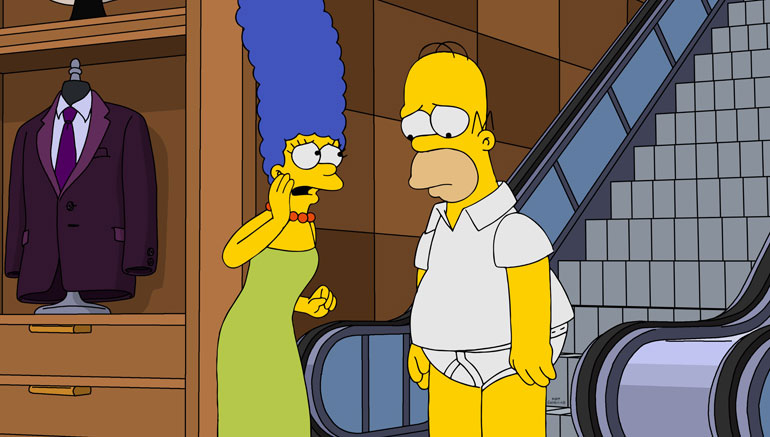 THE SIMPSONS, from left: Marge Simpson (voice by Julie Kavner), Homer Simpson (voice by Dan Castellanata), 'Go Big or Go Homer', (Season 31, Episode 3102, aired Oct. 6, 2019). photo: ©Fox / courtesy Everett Collection