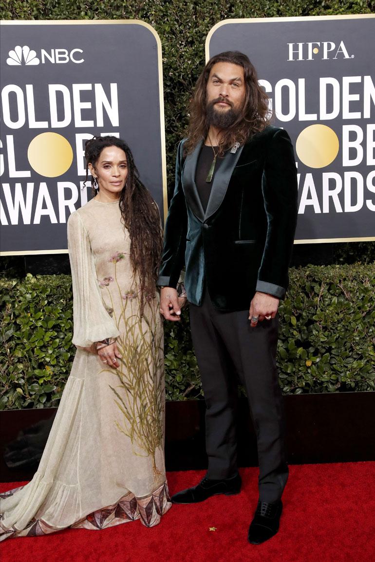 Jason Momoa and Lisa Bonet arrive for the 77th annual Golden Globe Awards ceremony at the Beverly Hilton Hotel, in Beverly Hills, California, USA, 05 January 2020. EPA-EFE/NINA PROM
