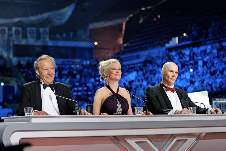 X-Factorin tuomaripöydän takana istuivat vuonna 2010 Gugin lisäksi Linda Lampenius ja Renne Korppila.