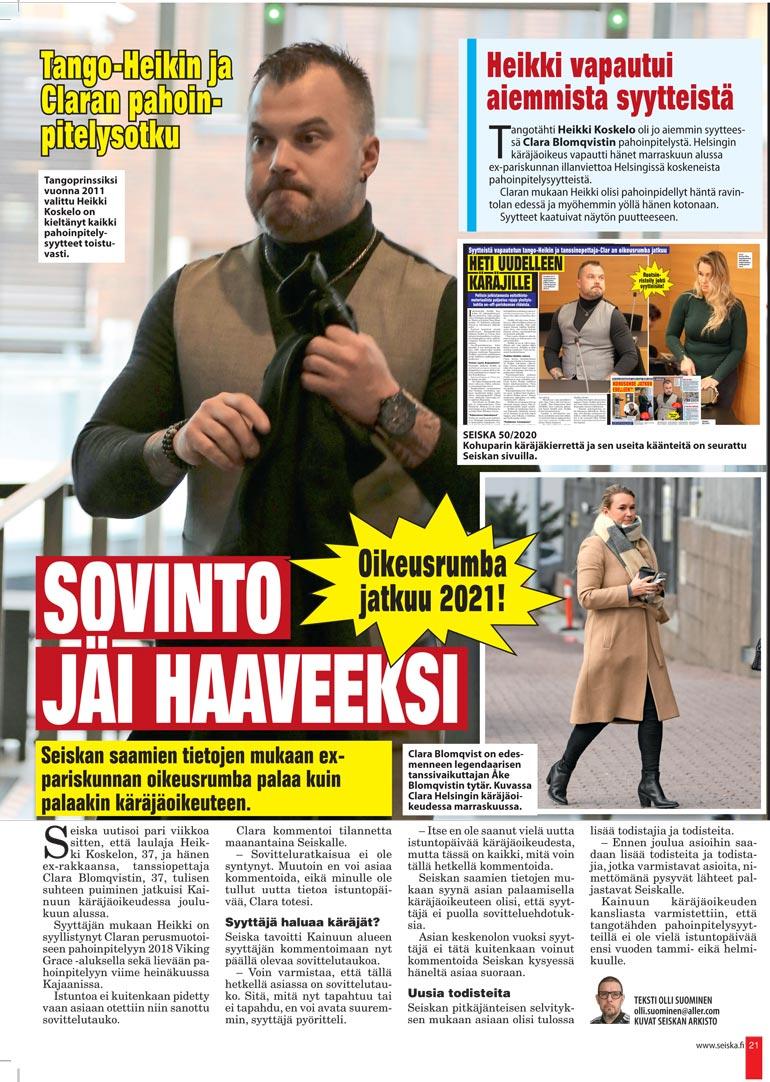 SEISKA 53/2020 Heikki vapautettiin joulukuussa laittomasta uhkauksesta ja pahoinpitelystä nostetuista syytteistä.