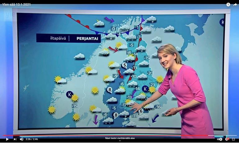 Näin Suomessa. Ihka oikea meteorologi Anniina Valtonen luottaa asiallisen hillittyyn tyyliin Ylen säälähetyksissä.