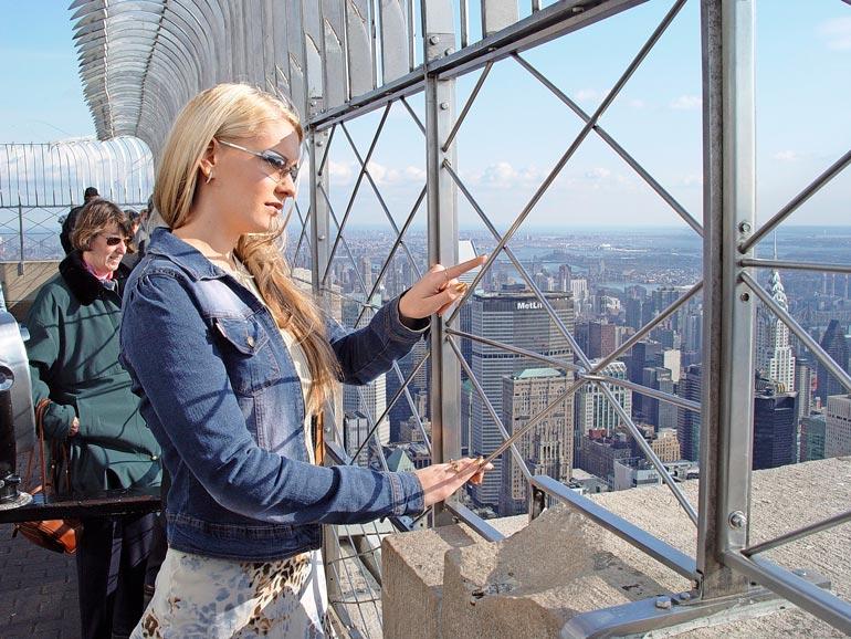Empire State Buildingin huipulta avautuvat näkymät saivat Heidin haukkomaan henkeään.