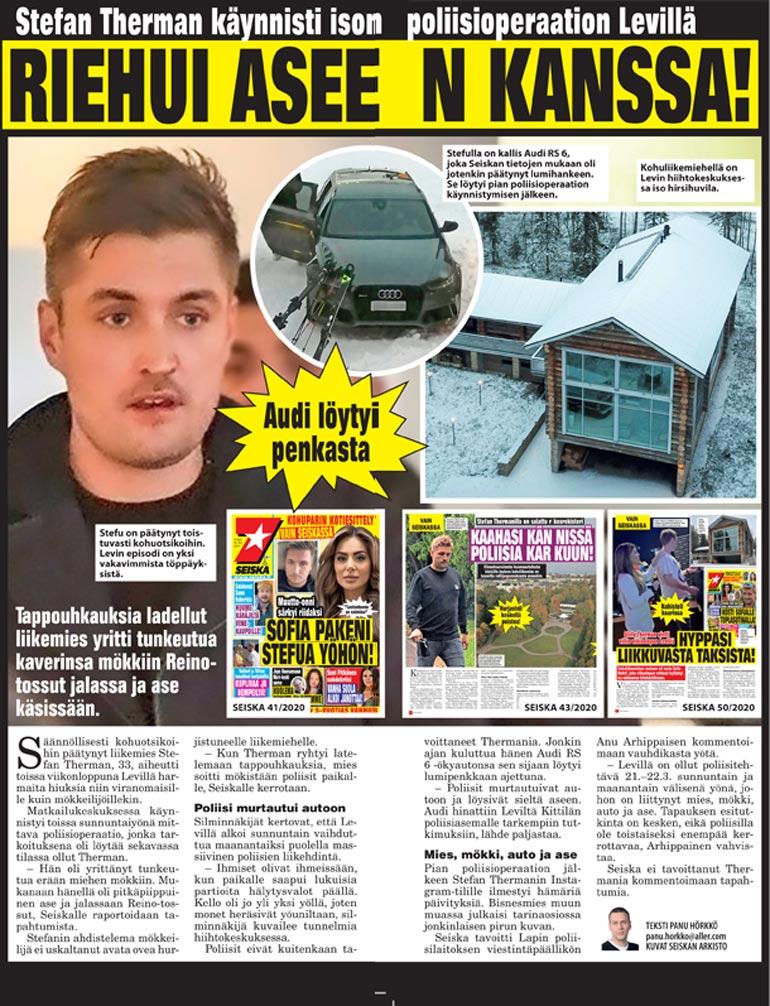 SEISKA 14–15/2021 Seiska kertoi pääsiäisnumerossaan, miten Reinoihin sonnustautunut liikemies kylvi kauhua Levillä. Lopulta poliisit saivat Stefun aseen haltuun murtautumalla tämän autoon.