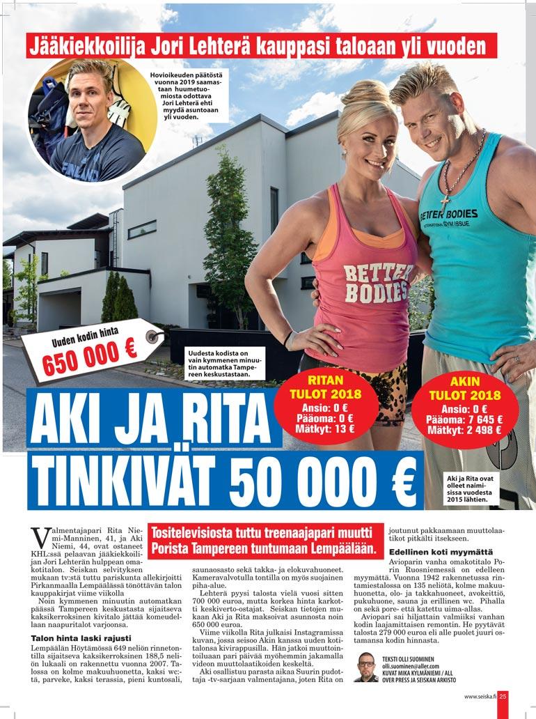 SEISKA 32/2020 Seiska kertoi viime kesänä pariskunnan ostamasta Lempäälän-kodista.