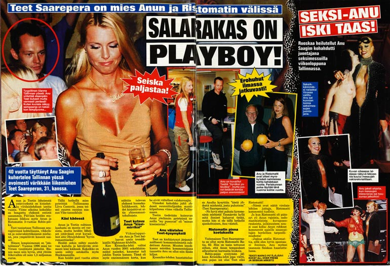 SEISKA 16/2002 Anu Saagimin ja Teet Saareperan salasutinoista kerrottiin Seiskassa keväällä 2002.