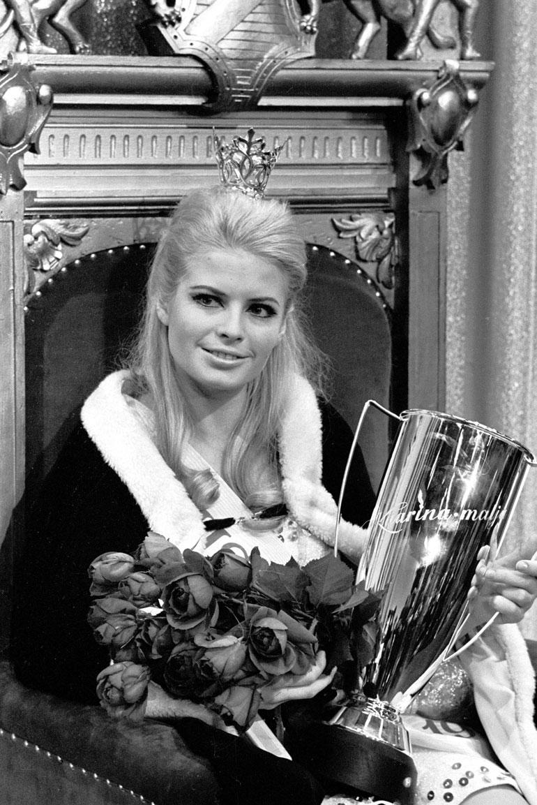 Leena Brusiin vasta kruunattuna Miss Suomena vuonna 1968.