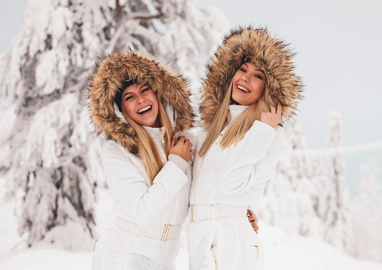 Alina Voronkova ja Jenny Lappalainen lomailivat Vuokatissa.