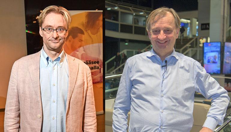 Mikael Jungner ja Hjallis Harkimo ökykahvittelivat.