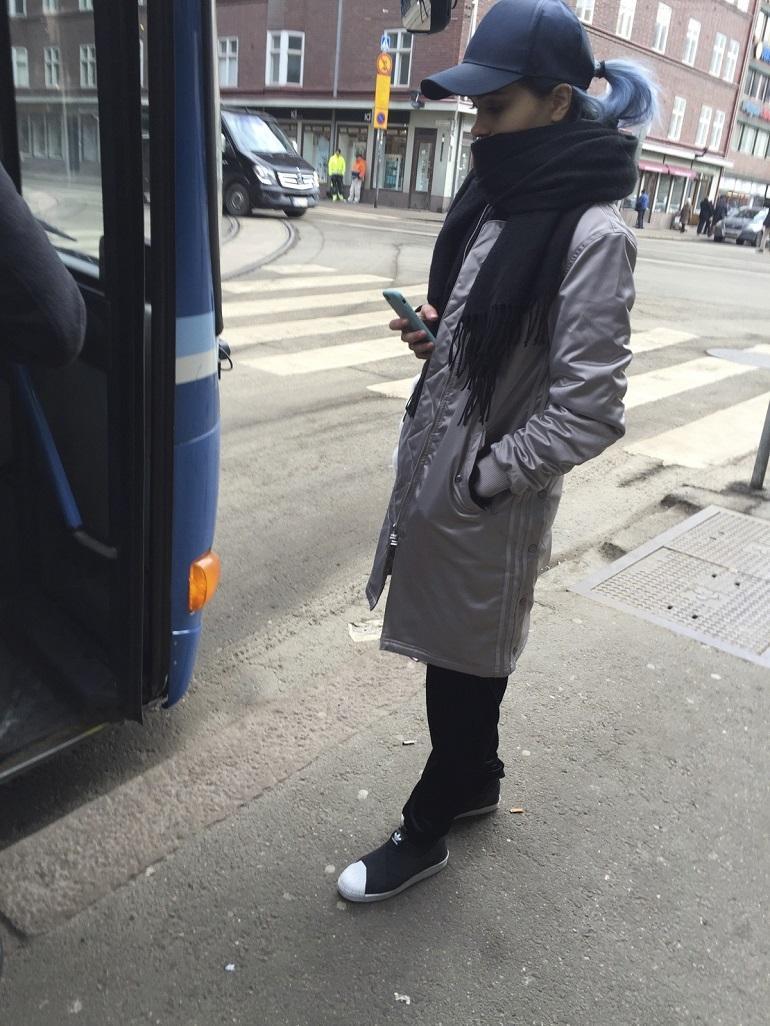 Sanni nousi bussiin.