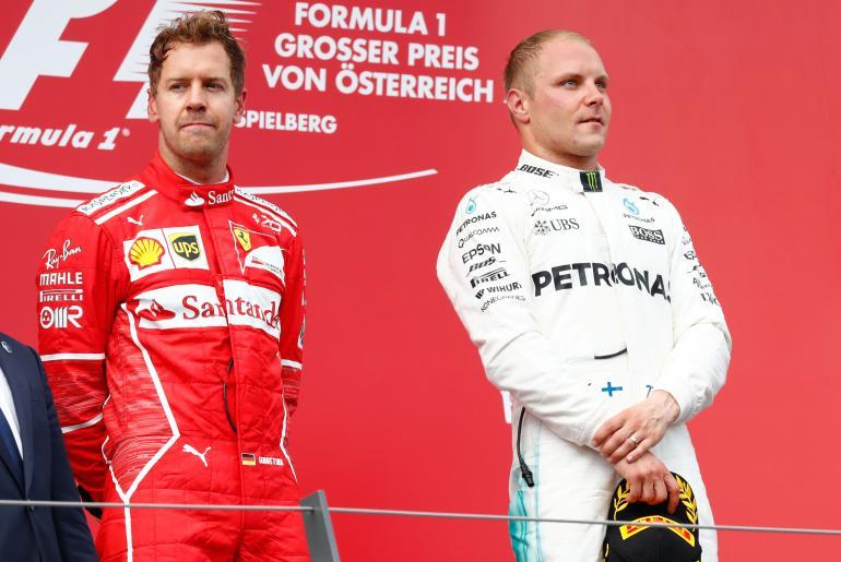 Sebastian Vettel ja Valtteri Bottas.