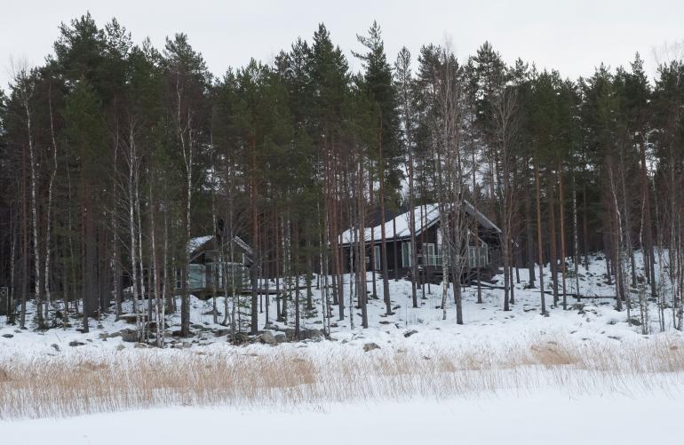 Tältä Vettelin kesämökki näyttää talvella Päijänteeltä kuvattuna.
