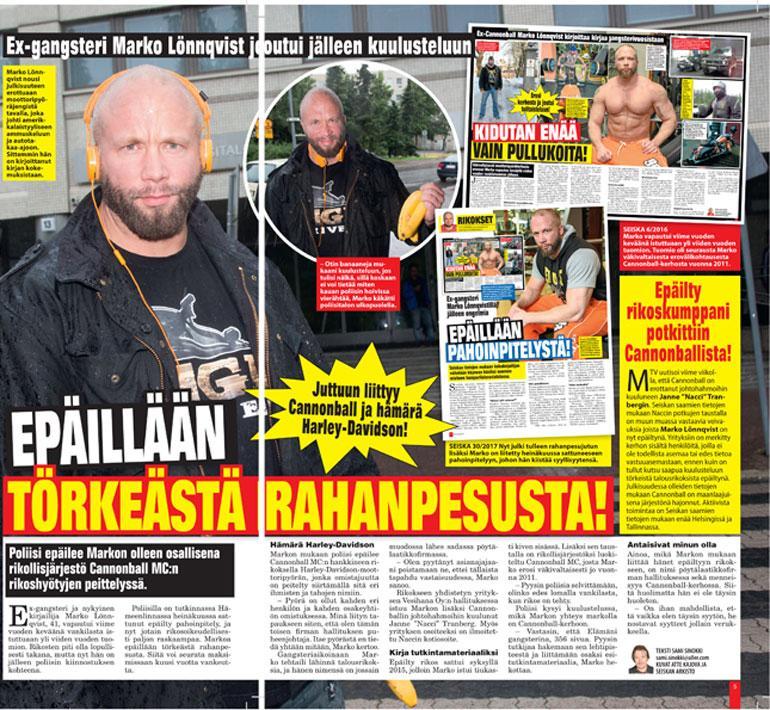 SEISKA 34/2017 Markoa epäiltiin törkeästä rahanpesusta, vaikka hän istui tekoaikana vankilassa. Hänet vapautettiin rikosepäilystä.