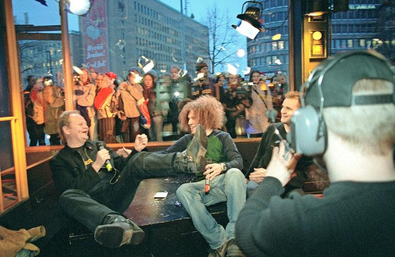 Jyrki-ohjelma oli oman aikansa superhitti. Kuvassa Pizza, Molli-Olli ja Joonas Hytönen.