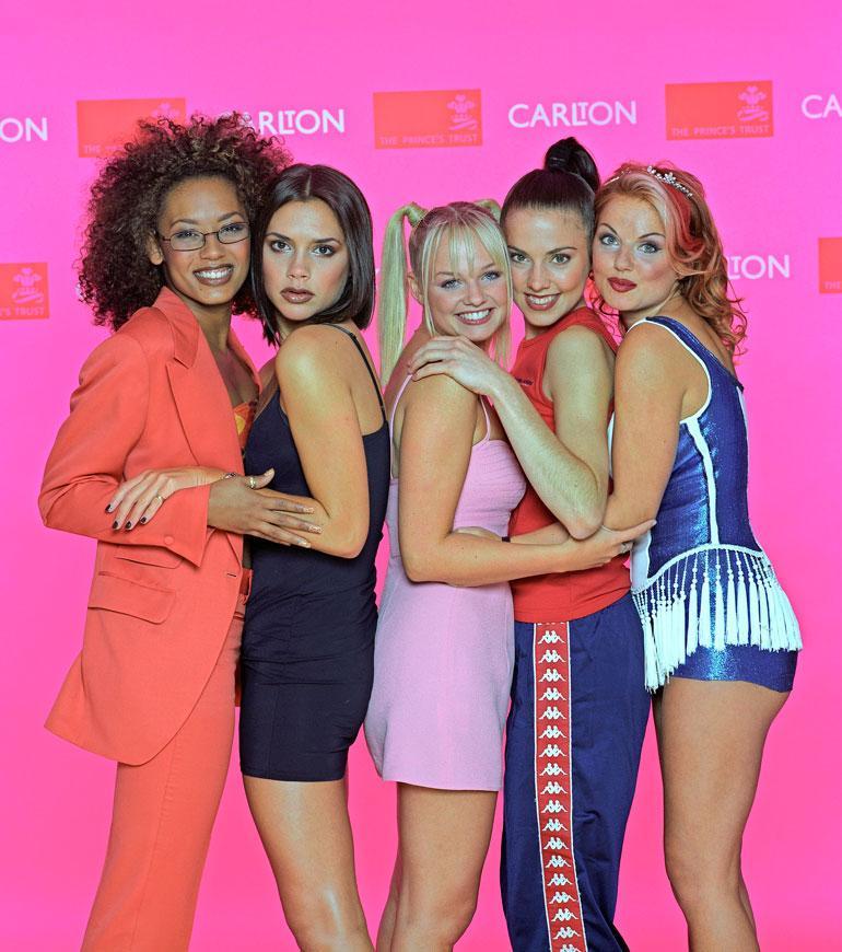 Spice Girls suosionsa huipulla vuonna 1997: Mel B, Victoria Beckham, Emma Bunton, Mel C ja Geri Halliwell.