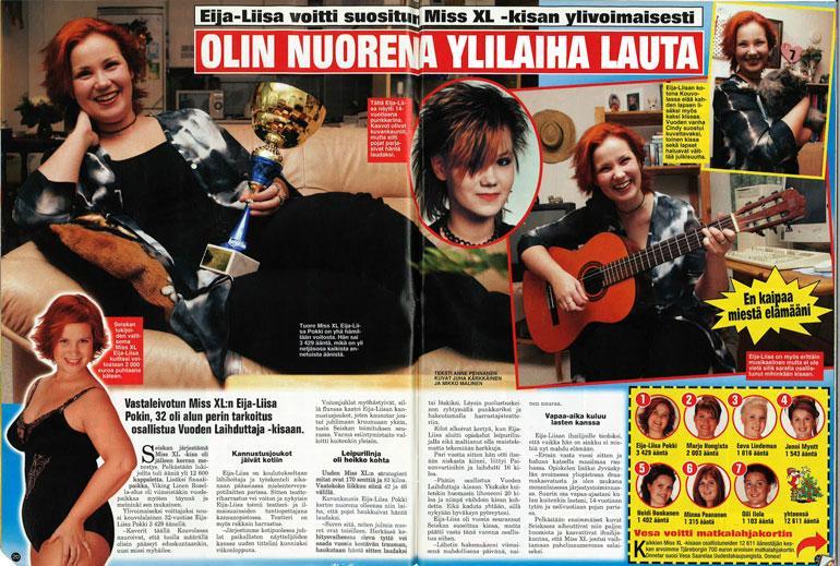 SEISKA 51–52/2003 Eija-Liisa muistetaan Seiskan supersuositun Miss XL -kilpailun voittajana.