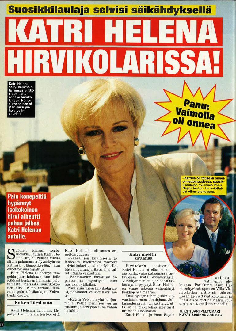 SEISKA 25/1998 Katri Helena joutui ikävään hirvikolariin 20 vuotta sitten.