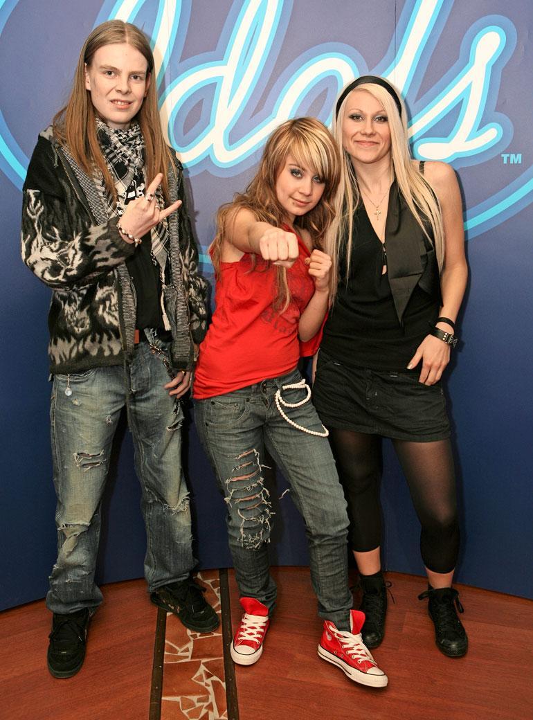 Idolsin kärkikolmikko vuonna 2007: Ari Koivunen (vas.), Anna Abreu ja Kristiina Brask.