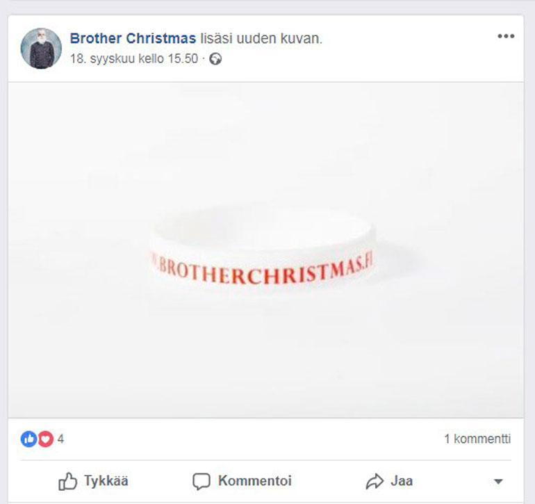 Koposen kauppaamat rannekkeet maksetaan selvästi Brother Christmas ry:n tilille ja toimitusosoite pyydetään kirjoittamaan tilisiirron viestikenttään.